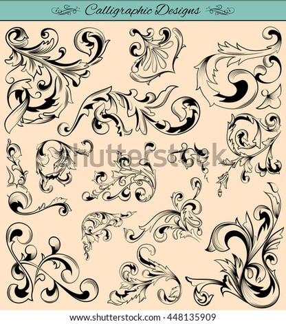 Elegant calligraphy design elements for designing and Page Decoration in vector
