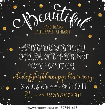 Elegant calligraphy letters with florishes. Handwritten alphabet with golden dots on blackboard. Uppercase, lowercase letters, numbers and symbols. Hand drawn modern and classy script.  - stock vector