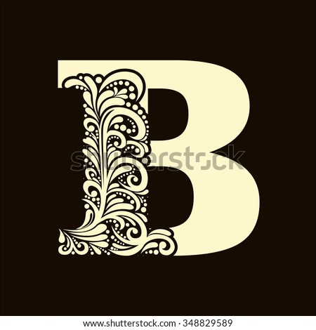Elegant capital letter B in the style of the Baroque. To use monograms, logos, emblems and initials. - stock vector