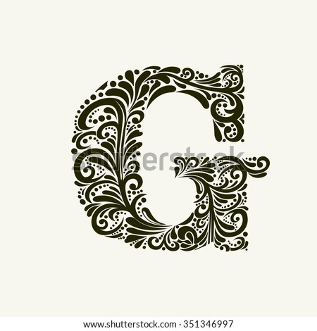 Stock Vector Elegant Capital Letter The Style Of Baroque To Use Monograms Logos Emblems And Initials Sj Love Logo