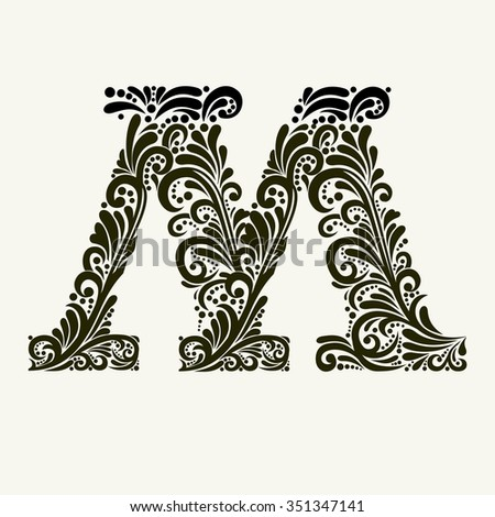 Elegant capital letter M in the style of the Baroque. To use monograms, logos, emblems and initials. - stock vector