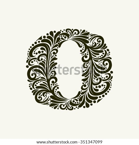 Elegant capital letter O in the style of the Baroque. To use monograms, logos, emblems and initials. - stock vector
