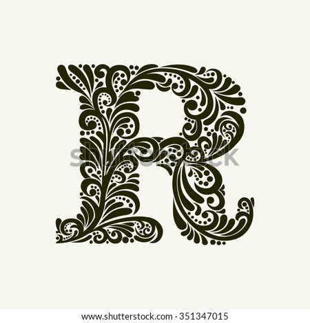 Elegant capital letter R in the style of the Baroque. To use monograms, logos, emblems and initials. - stock vector