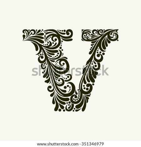 Elegant capital letter V in the style of the Baroque. To use monograms, logos, emblems and initials. - stock vector