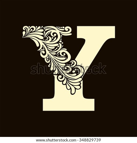 Elegant capital letter Y in the style of the Baroque. To use monograms, logos, emblems and initials. - stock vector
