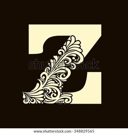 Elegant capital letter Z in the style of the Baroque. To use monograms, logos, emblems and initials. - stock vector