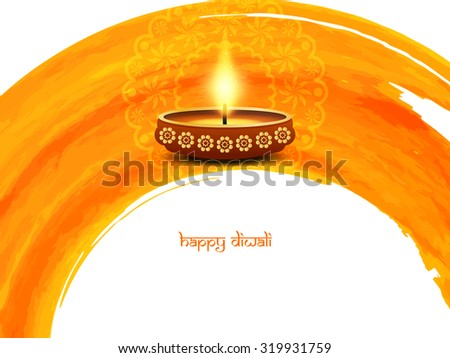 Elegant card design of traditional Indian festival Diwali with lamp. - stock vector