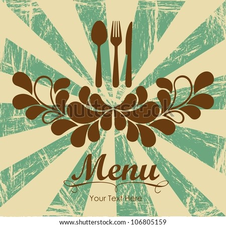 Elegant card for restaurant menu, with spoon, knife and fork vector illustration - stock vector