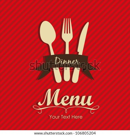 Elegant card for restaurant menu, with spoon, knife and fork vector illustration