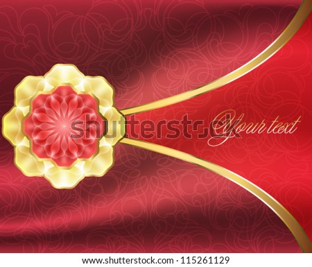 Elegant card with a gold brooch and fabric background - stock vector