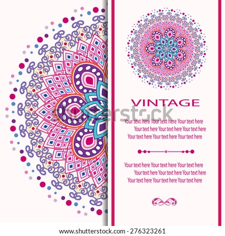 Elegant card with lace ornament and place for text on background with seamless pattern. Vintage style. Wedding invitation. Vector mandala. - stock vector