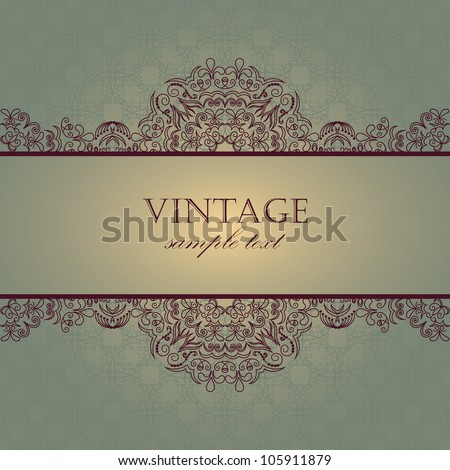 Elegant card with vintage frame and seamless background - stock vector