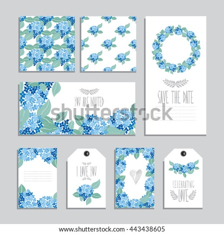 Elegant cards and gift tags with hydrangea floral bouquets, design elements. Can be used for wedding, baby shower, mothers day, valentines day, birthday cards, invitations. Vintage decorative flowers - stock vector