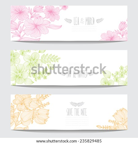 Elegant cards with decorative flowers, design elements. Can be used for wedding, baby shower, mothers day, valentines day, birthday cards, invitations. Floral banners. Vintage decorative flowers - stock vector