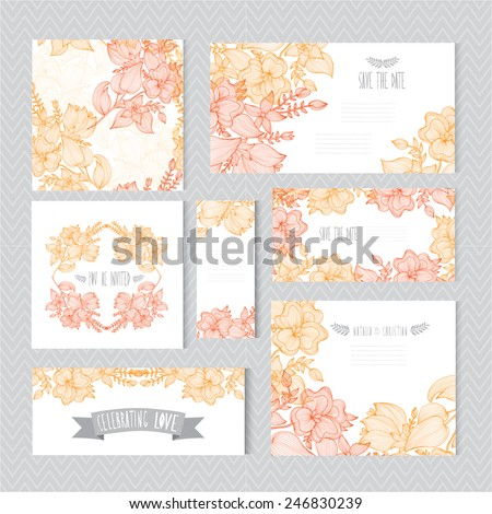 Elegant cards with decorative flowers, design elements. Can be used for wedding, baby shower, mothers day, valentines day, birthday cards, invitations, greetings. Vintage decorative flowers. - stock vector