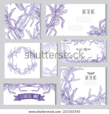 Elegant cards with floral iris bouquets, design elements. Can be used for wedding, baby shower, mothers day, valentines day, birthday cards, invitations. Vintage decorative flowers. - stock vector