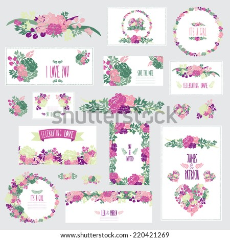 Elegant cards with floral peony bouquets, hearts and wreath, design elements. Can be used for wedding, baby shower, mothers day, valentines, birthday cards, invitations. Vintage decorative flowers. - stock vector