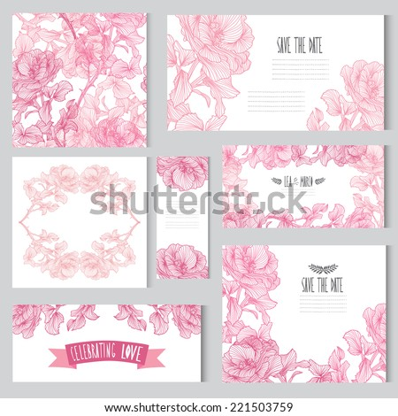 Elegant cards with floral rose bouquets, design elements. Can be used for wedding, baby shower, mothers day, valentines day, birthday cards, invitations. Vintage decorative flowers. - stock vector