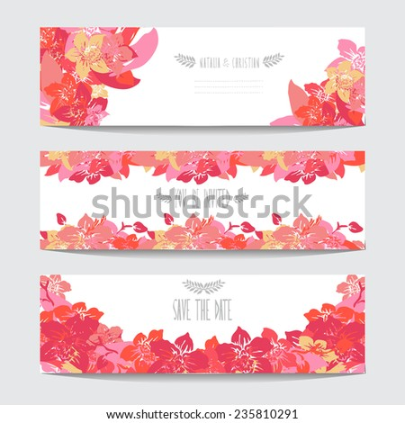Elegant cards with orchid flowers, design elements. Can be used for wedding, baby shower, mothers day, valentines day, birthday cards, invitations. Floral banners. Vintage decorative flowers - stock vector