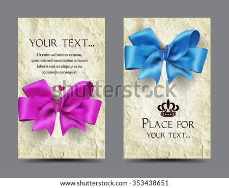 Elegant cards with silk bows and old paper background