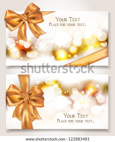 Elegant cards with silk gold ribbons