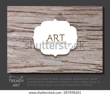 Elegant cards with vintage frame & wood texture. Retro Graphic Frames. Vector illustration - stock vector