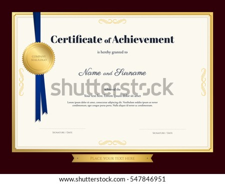 Elegant Certificate Achievement Template Blue Ribbon Stock ...