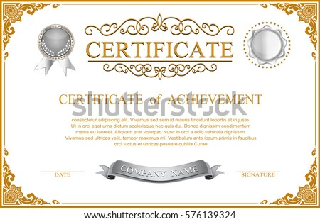 Elegant certificate template design border sealing stock vector elegant certificate template design with border sealing wax and emblem on white background a4 size yelopaper Images