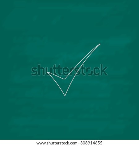 Elegant Check mark. Outline vector icon. Imitation draw with white chalk on green chalkboard. Flat Pictogram and School board background. Illustration symbol