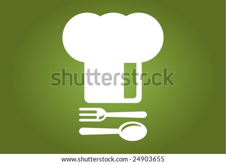Elegant Chef's Hat - with spoon and fork - stock vector
