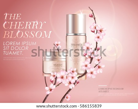 Elegant cherry blossom cosmetic ads, two exquisite containers with sakura branches and sunlight effect isolated on pink background in 3d illustration