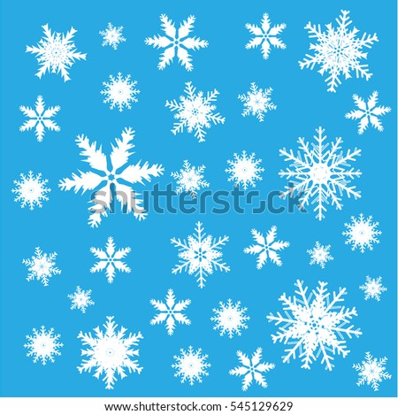 Elegant Christmas background, pattern with many white snowflakes icons, situated on white backdrop