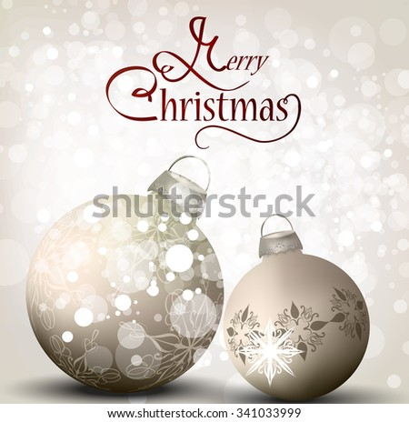 elegant Christmas background with balls - stock vector