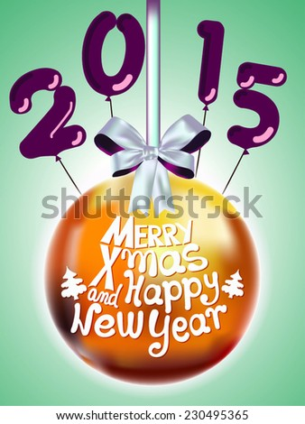 Elegant Christmas background with baubles. Merry Christmas and Happy New Year. 2015 - stock vector
