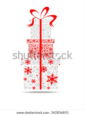 Elegant Christmas background with gift boxes made from snowflakes