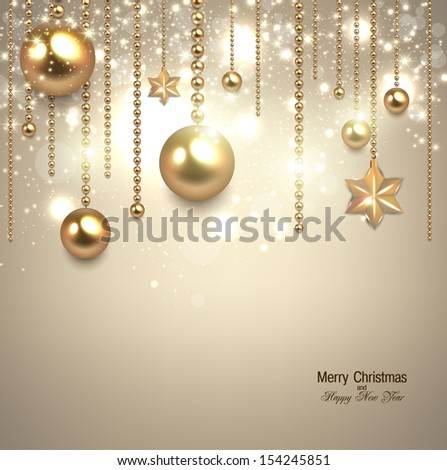 Elegant christmas background with golden baubles and stars. Vector illustration