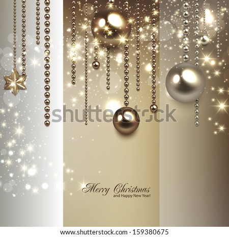 Elegant christmas background with golden baubles and stars. Vector illustration - stock vector