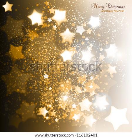 Elegant Christmas background with golden stars. Vector illustration - stock vector