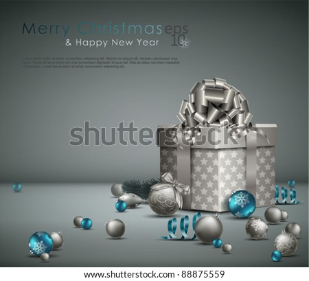 Elegant Christmas Background with ornaments and gift box. Vector Illustration. - stock vector