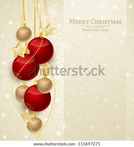 Elegant Christmas background with red and gold  baubles - stock vector