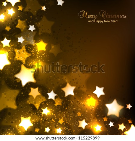 Elegant Christmas background with stars and place for text. Vector Illustration. - stock vector