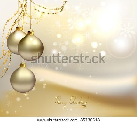 elegant  Christmas background with three evening balls and gold garlands - stock vector