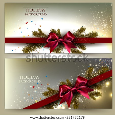 Elegant Christmas banner set. Golden backgrounds with red ribbons. Vector