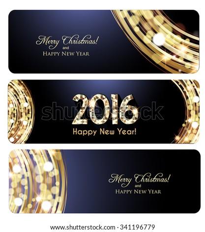 Elegant Christmas banners, Golden lights background - stock vector