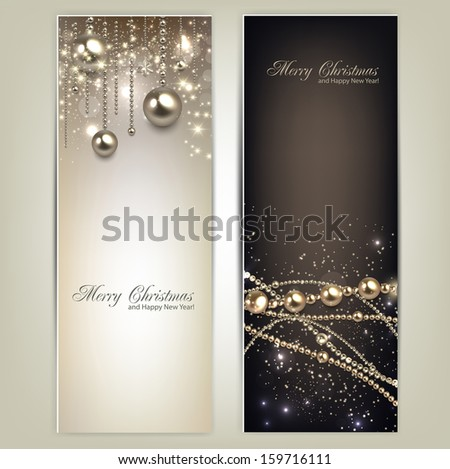 Elegant christmas banners with golden baubles and stars. Vector illustration - stock vector