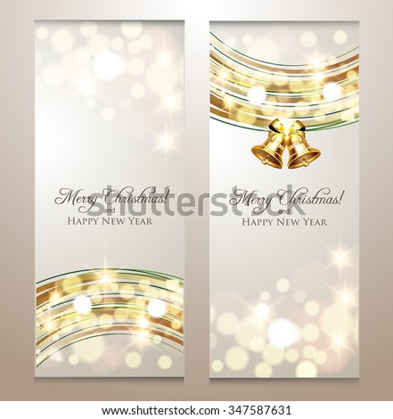 Elegant Christmas banners with golden lights in background - stock vector