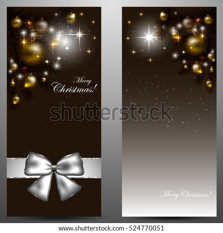 Elegant Christmas Card with Shiny Stars and New Year Tree Decorated on Gold Background with Merry Christmas Text. Vector Illustration