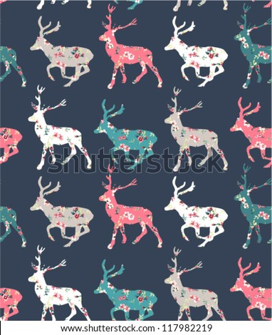 Elegant Christmas deer with flower seamless pattern background - stock vector