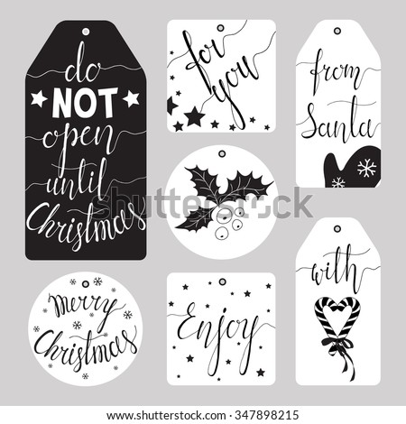 Elegant Christmas gift tag collection. Ink hand lettering. Black & White hand drawn vector illustration. - stock vector