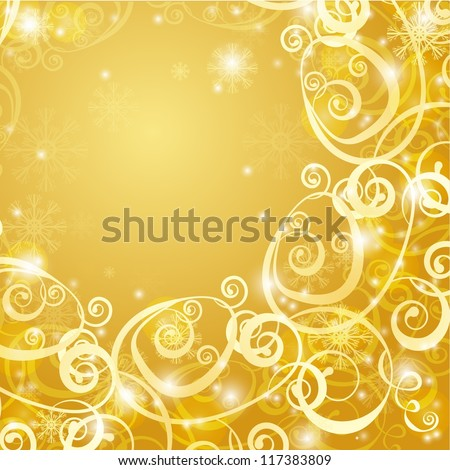 elegant christmas gold background with snowflakes and lights - stock vector
